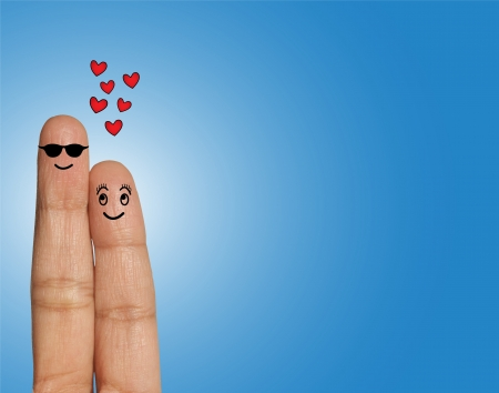Happy Couple, Man with Spectacles looking straight with pride and Woman looking Man in Love  - Love Concept Illustration using Fingers Banque d'images