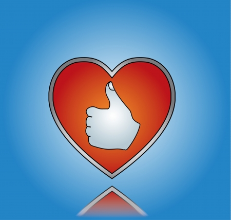 thumbsup: Love Like Concept Illustration using Thumbs-up Silhouette on a Big red heart against a blue background
