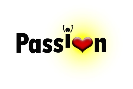 milestones: Passion text with a read heart replacing letter O and letter I jumping with joy Stock Photo