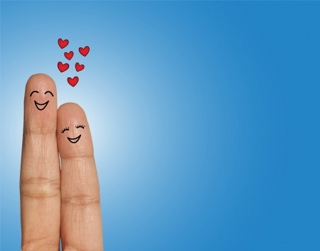 Happy Couple laughing or giggling with closed eyes  - Concept Illustration using Fingers
