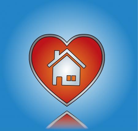 Amore casa o casa Illustrazione con cuore rosso e simbolo della casa con sfondo blu sfumato Archivio Fotografico - 20215121