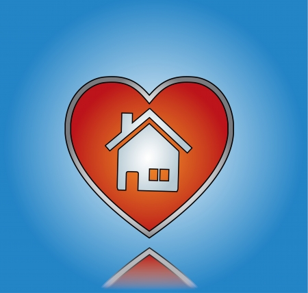 beautiful homes: Love Home or House Illustration with Red Heart and House Symbol with blue gradient background