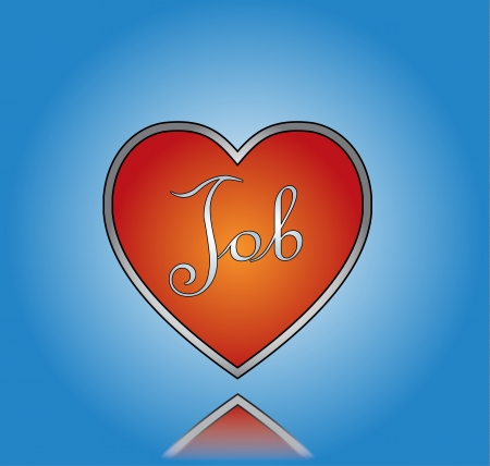 Love Job concept Illustration with Red Heart and Job Text with a blue gradient background