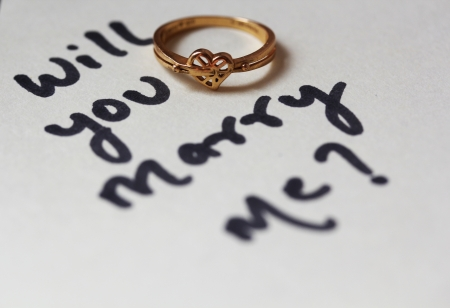 Will you marry me Proposal text written with heart shaped wedding ring photo