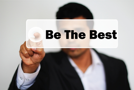 best hand: Male Professional Choosing to Be the Best by clicking the Button  Stock Photo