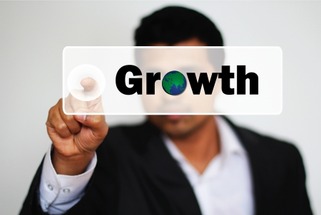 prosper: Male Professional Choosing Growth by clicking the Button
