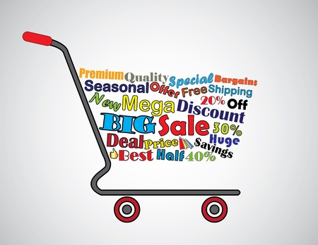 Shopping Cart Illustration  Mega or Big Sale Shopping Cart Banner with all key texts related to Sale Vector