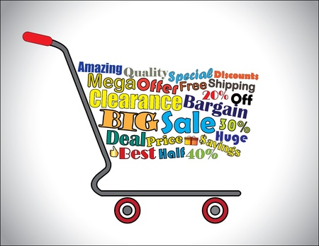 Shopping Cart Illustration  Mega or Big Clearance Sale Shopping Cart Banner with all key texts related to Sale Vector