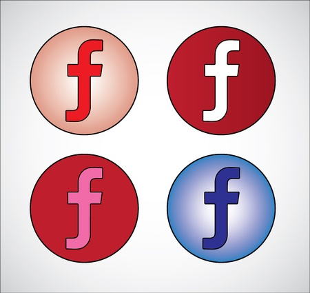 gradient  blue: Four different social media representation of letter F  Gradient Blue, Red, White, Pink