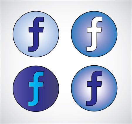 Four different social media representation of letter F  Gradient Blue, Dark Blue, White, Light Blue Stock Vector - 20599439