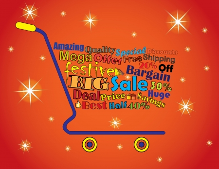 Shopping Cart Illustration  Mega or Big Festive Sale Shopping Cart Banner with all key texts related to Sale Vector