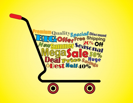 Shopping Cart Illustration  Mega or Big Summer Sale Shopping Cart Banner with all key texts related to Sale Vector