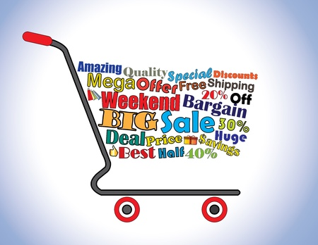Shopping Cart Illustration  Mega or Big Weekend Sale Shopping Cart Banner with all key texts related to Sale Vector