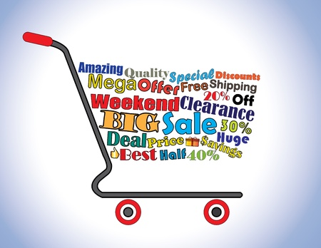 Shopping Cart Illustration  Mega or Big Weekend Clearance Sale Shopping Cart Banner with all key texts related to Sale Vector