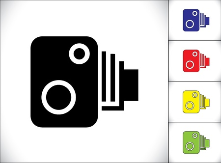 camera icon: Speeding Car over the speed limit detection Camera Set Illustration