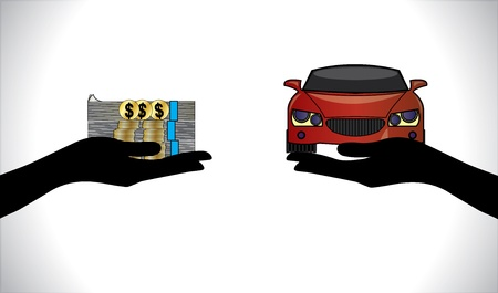 Illustrations of a Car loan or Car Payment using Hand Silhouettes, dollar coins and notes and a beautiful red Car Vector