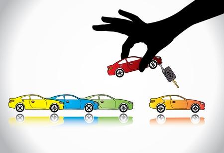 Pflege Sale oder Car Key Concept Illustration Eine Hand Silhouette der Wahl rot gefärbt Auto mit Automatik-Taste aus einer Reihe von bunten Autos zum Verkauf anzuzeigen