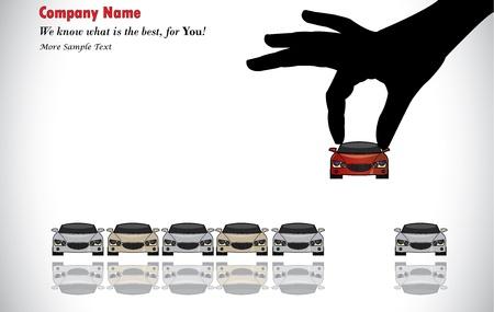 Pflege Sale oder Car Key Concept Illustration Eine Hand Silhouette der Wahl rot gefärbt Auto aus einer Reihe von bunten Autos zum Verkauf anzuzeigen