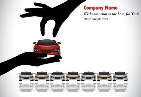 Pflege Sale oder Car Key Concept Illustration Eine Hand Silhouette der Wahl rot gefärbt Auto durch die Vertriebsmitarbeiter aus einer Reihe von Autos angeboten Display zu verkaufen