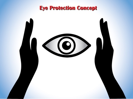 eye protection: Eye Protection or Eye Doctor Concept Illustration using hand silhouettes protecting an open eye at the middle