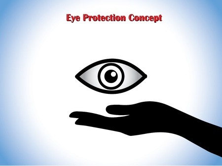 open eye: Eye Protection or Eye Doctor Concept Illustration using hand silhouettes protecting an open eye