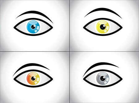 Different Colored Eye Combination concept illustration Set  Clam, Angry, Scared, Thoughtful Eyes with different eyeball colors Stock Vector - 21422277
