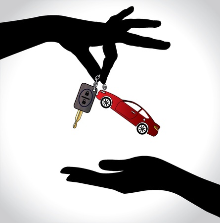 give hand: Care Sale or Car Key Concept Illustration   Two hand silhouettes exchanging red colored car with automatic key