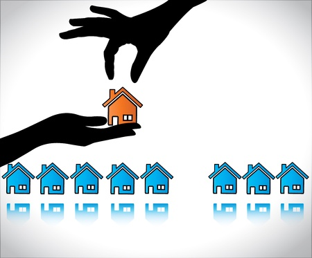 home buyer: Concept illustration of Home or House Buying  A Hand Silhouette offering red colored house to a buyer who is choosing his dream home