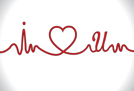 I Love You Concept Illustration with electro cardio gram shaped red line with I and U next to heart Vector