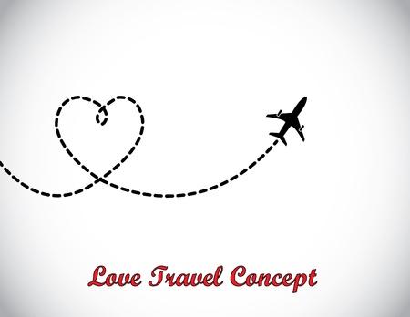 여행: 화이트 하늘에 비행 비행기 사랑 모양의 연기 흔적을 남겨두고