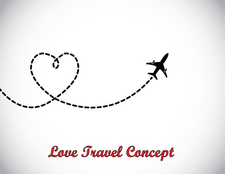 leaving: Een vliegtuig vliegt in de witte hemel met achterlating van een liefde vormige rooksleep Stock Illustratie