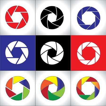 digital slr: Digital SLR Camera Shutter set or Circular colorful pattern set