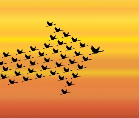 Liderazgo y Sinergia ilustración del concepto de una serie de cisnes volando contra un cielo de fondo blanco de plomo brillante por un líder grande y oscura cisne