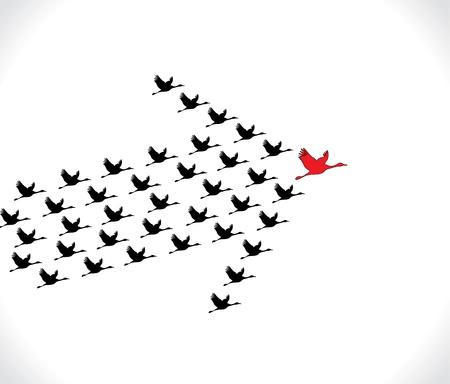 큰 어두운 지도자 백조가 순백색 하늘 배경 리드에 대 한 비행 백조의 리더십과 시너지 개념 그림 번호