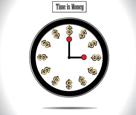 waste money: Time is Money Concept Illustration