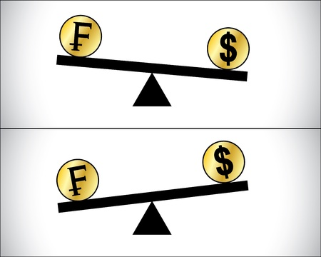 see saw: Concept Illustration of Global Forex Trading fluctuations between two most traded currencies - American Dollar and Swiss Francs Illustration