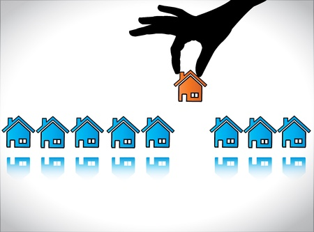 Concept illustration of Home or House Buying  A Hand Silhouette choosing a red colored house for his or her dream home Vettoriali