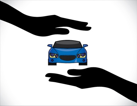Concept Illustrations of a Car Insurance or Car Protection using Hand Silhouettes and front view of beautiful bright blue Car