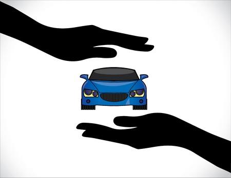 Konzept Illustrationen einer Kfz-Versicherung oder Kfz-Schutz mit Hand Silhouetten und Frontansicht der schönen hellen blauen Auto