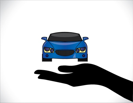 Concept Illustrations of a Car Insurance or Car Protection using Hand Silhouettes and front view of beautiful bright blue Car Stock Vector - 21422904