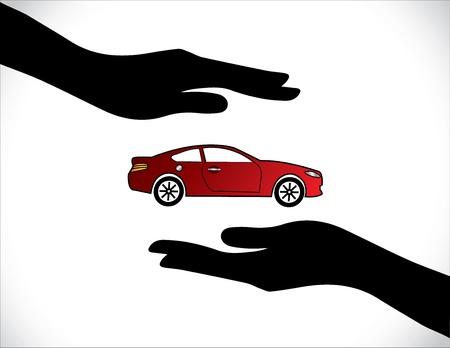 Concept Illustraties van een autoverzekering of Car Protection behulp Hand Silhouetten en mooie heldere rode auto