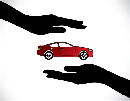 Concept Illustrations of a Car Insurance or Car Protection using Hand Silhouettes and beautiful bright red Car
