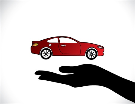 Concept Illustrations of a Car Insurance or Car Protection using Hand Silhouettes and beautiful bright red Car Stock Vector - 21422907