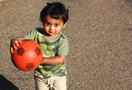 A Young Indian Toddler playing with a red ball in a green grass of a garden or a park