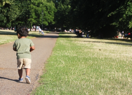 toddler walking: A Young Indian Toddler walking along a road along side green grass of a garden or a park Stock Photo