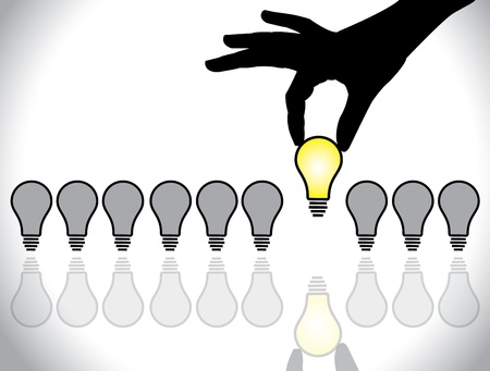 best idea: hand selecting a bright light bulb idea from a list of dull colored bulb available for selection - concept illustration