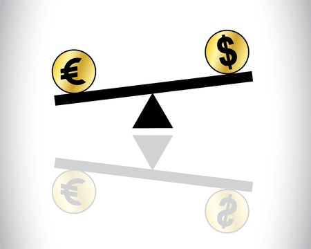 fluctuations: Concept Illustration of Global Forex Trading fluctuations between two most traded currencies - American Dollar and European Euro