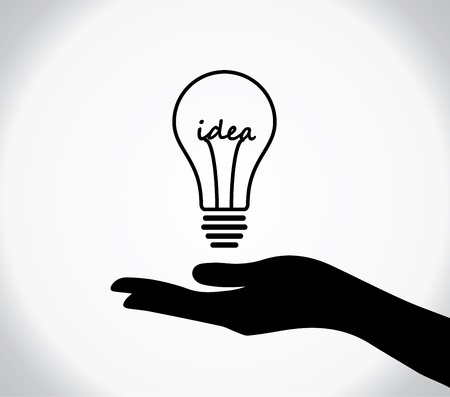 knowledge business: concept design vector illustration of A human hand silhouette sharing of light bulb with idea text at the middle of the bulb Illustration
