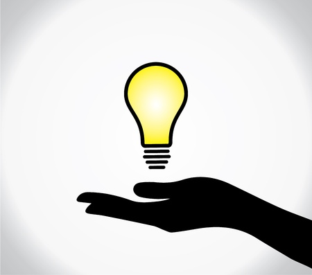 hands giving: concept design vector illustration of A human hand silhouette sharing of bright and glowing yellow idea or solution light bulb  Illustration