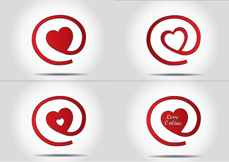 Online dating or finding love concept icon set - vector design illustration art collection Vector